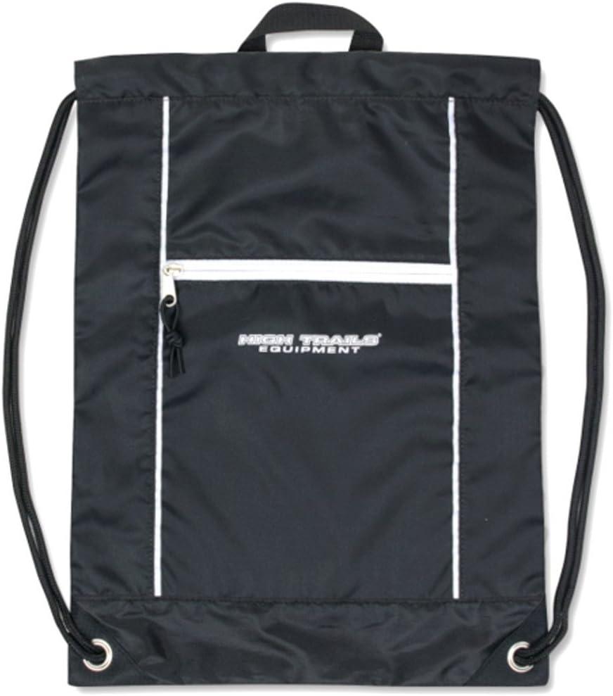 High Trails Unisex Black Zippered Accessory Pocket Drawstring Backpack 18x13