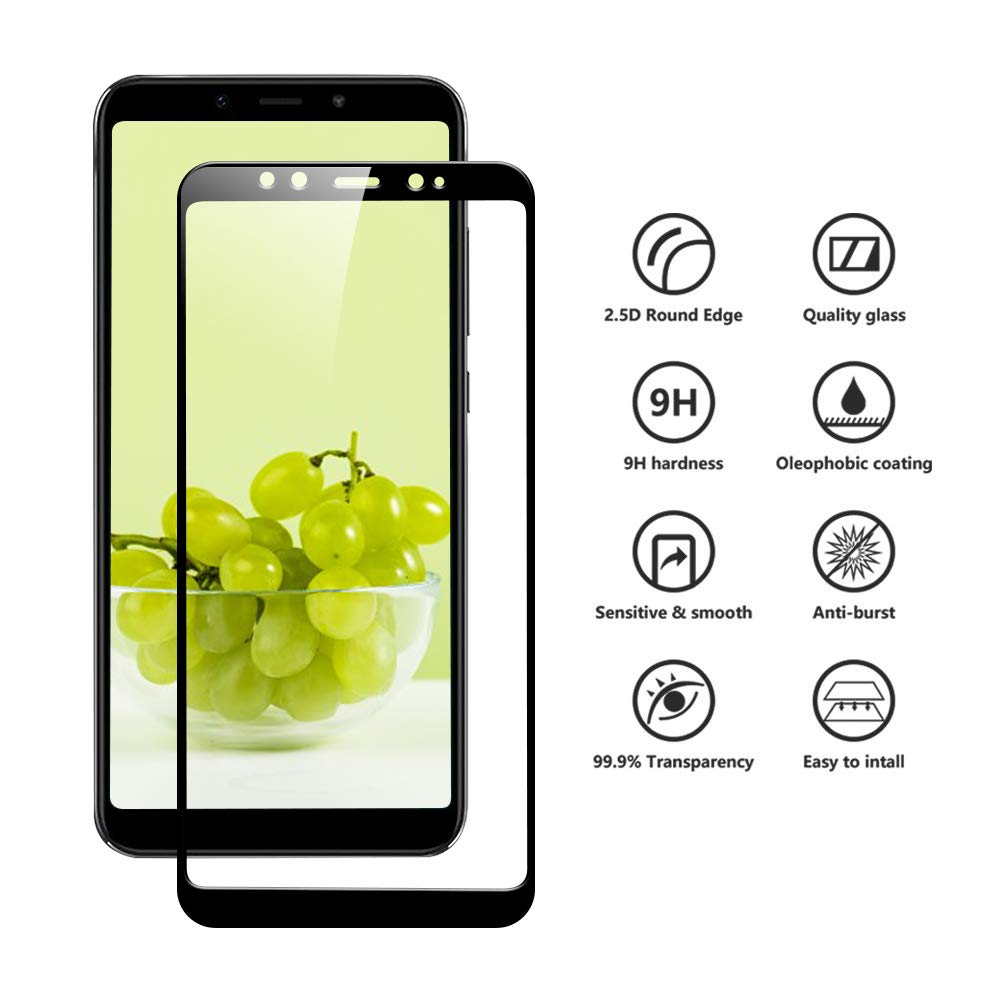 DEALUY Protector de Pantalla Xiaomi Mi A2/6X, [3-Pack] Cristal Templado Xiaomi Mi A2/6X, 3D Touch,9H Dureza, Alta Definicion, Protector Vidrio Templado para ...