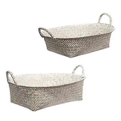 Amazon Com Tasteful Home Decor Seagrass Oval Basket Set