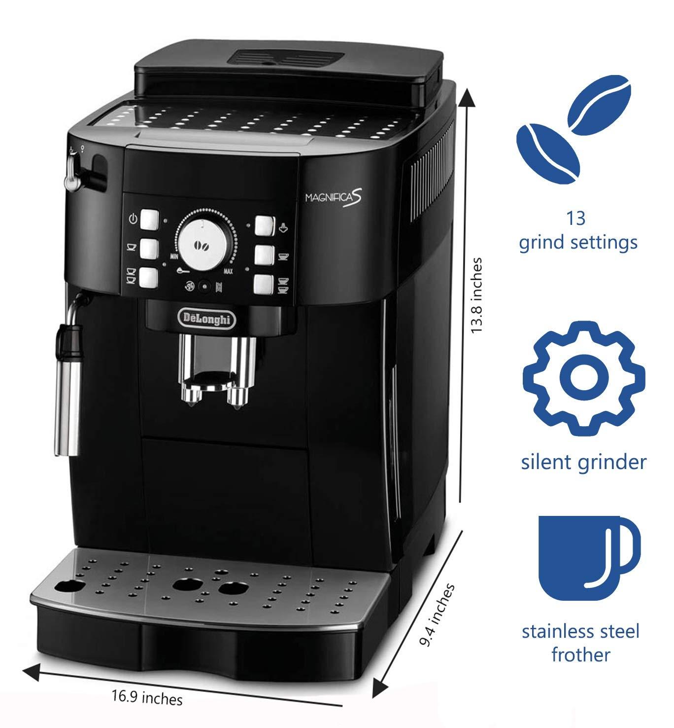 DeLonghi Magnifica S ECAM 21.117.B Máquina espresso, 1450 W, 1.8 litros, Negro