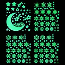 Christmas Decoration Glow in The Dark Snowflake and Moon Stars Best Luminous Wall Decals for Bedroom Living Room Pub Ceiling