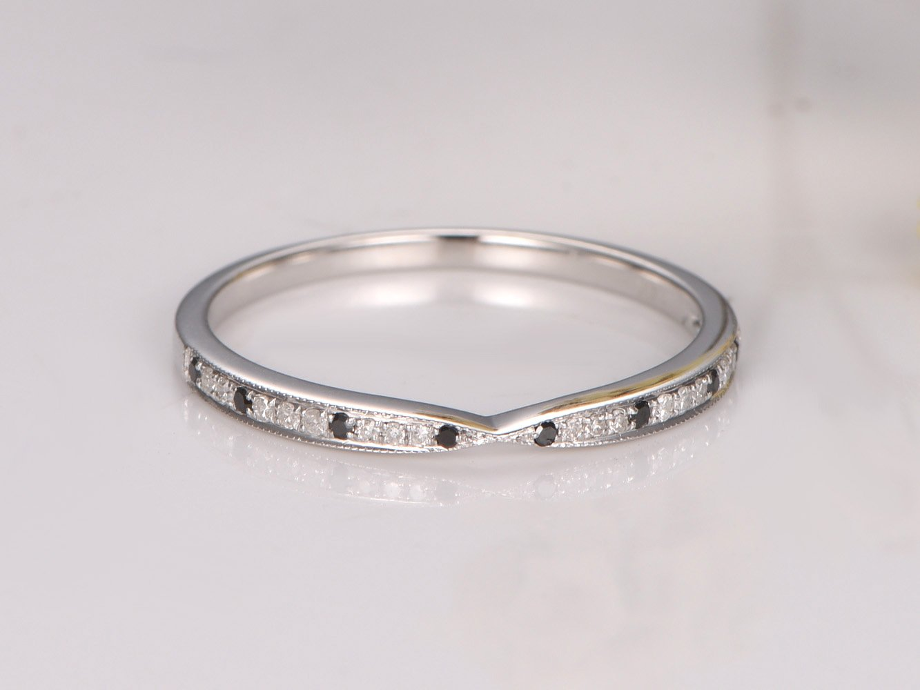 1/2 Eternity Clear and Black Diamond Wedding Band,Solid 14k White Gold Natural SI-H diamond Engagement Ring, Bridal Promise Ring Stack Matching Band
