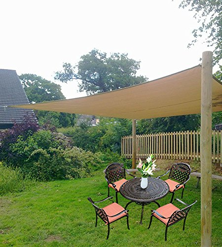 10X13 Sun Shade Sails Canopy Rectangle Sand 185GSM UR Block for Patio Garden Outdoor Activities