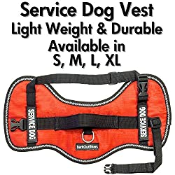 "barkOutfitters Service Dog Vest Harness - Light Weight But Durable - Available in 4 Sizes - M (24"" - 29"" Girth)"