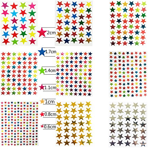 Kenkio 8270 Count Colorful Star Stickers Self-adhesive Stickers Stars Labels Photo #6