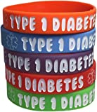 Kid's Type 1 Diabetes Silicone Medical Alert Bracelets(Pack of 5) Red, Orange, Purple, Green, Blue (7 inches)