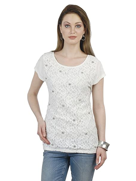 ec9f33cfe524f9 WHITE LACE TOP WITH SUBTLE EMBELLISHMENT at Amazon Women s Clothing ...