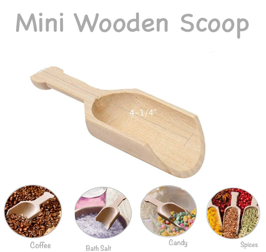 Mini Wooden Scoop 4-1/4 Long x 1-1/4'' Wide, Natural Wood Scooper for Party Buffet- Scooping Candy, Spices, Dry Fruit, Nuts, Bath salts, Laundry Detergent (Pack of 10)