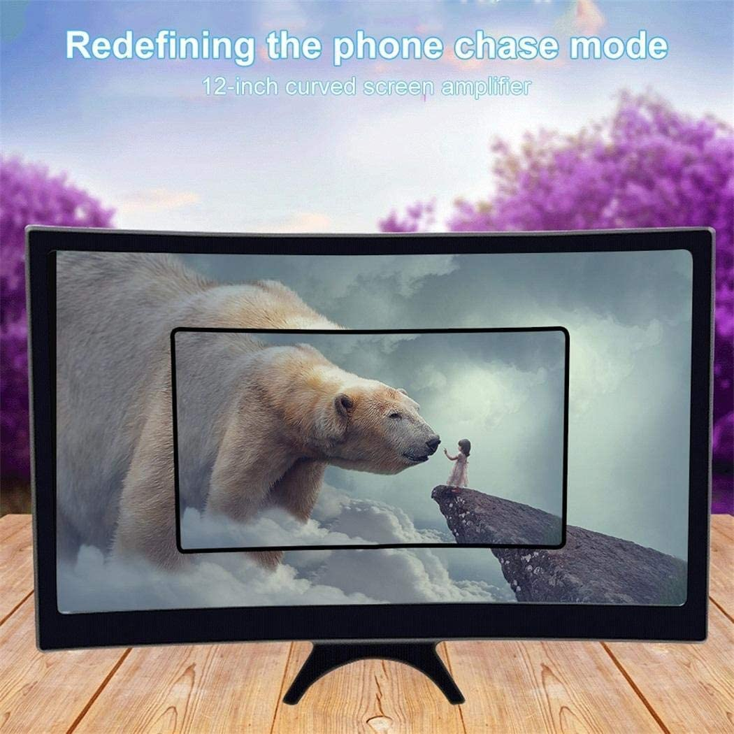 Tinffy 12inch Curved Screen Smartphone Magnifier Eye Protection HD Video Amplifier Stands