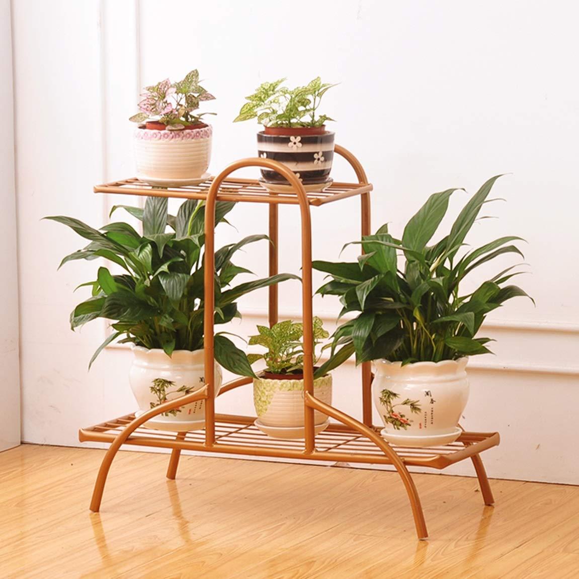 HZB Iron Flower Rack,Golden Living Room Balcony Floor Flower Pot Rack, Room Inside and Outside Green Lace Flower Shelf.