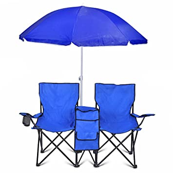 Double Folding Chair With Removable Umbrella Table Cooler Bag Fold Up Steel Construction Dual Seat For