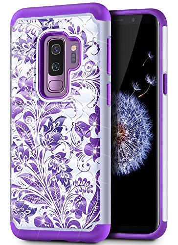 Caka Galaxy S9 Plus Case, Galaxy S9 Plus Heavy Duty Protection Case Flower Glitter Rhinestone Luxury Bling Dual Layer Soft Inner TPU and Plastic Hybrid Floral Case for Samsung Galaxy S9 Plus -(Purple)