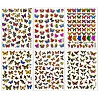 Butterfly003 - 6 Different Sheet Butterfly Glitter Gold Metallic Foil Reflective Craft Self-adhesive Sticker Decorative Scrapbook for Kid, Birthday Party, Card, Diary, Album