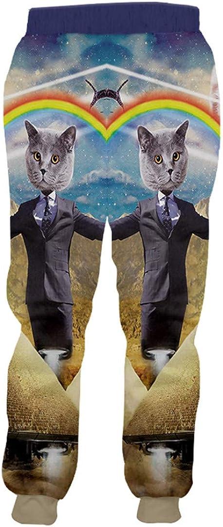 Jogger Pants Animal 3D Printing Gentleman Cat Rainbow Casual Winter Sweatpants