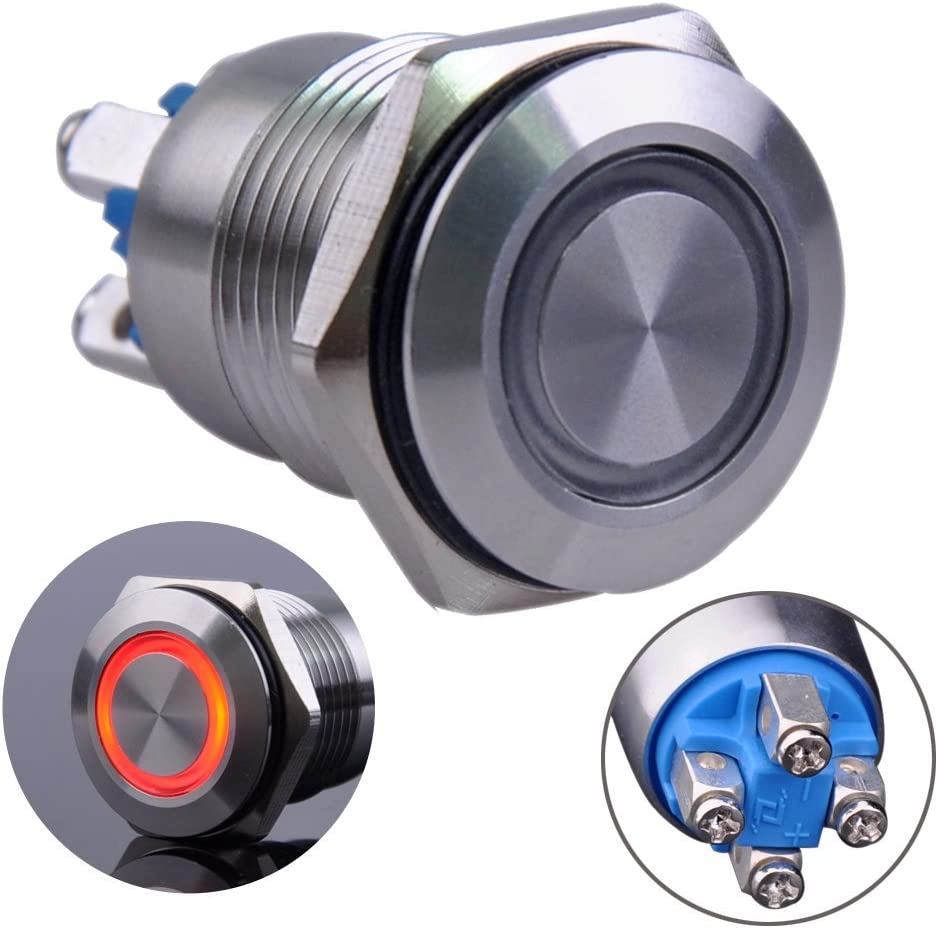 Ulincos Momentary Push Button Switch U16B1 1NO Silver Stainless Steel Shell with Red LED Ring Suitable for 16mm 5//8 Mounting Hole Red