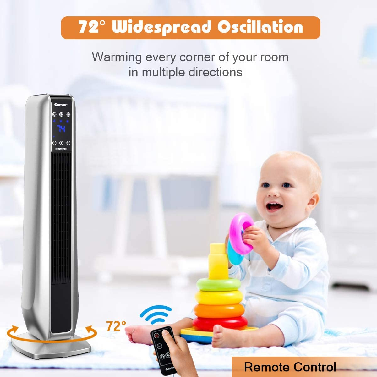 Overheat /& Tip-Over Protection Portable Space Heater for Bedroom 750W//1500W Electric Tower Heater with 3 Modes Black 8H Timer COSTWAY Ceramic Heater Remote Control /& LED Screen Home/& Office