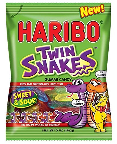 Haribo of America Twin Snakes Gummi Candy, Assorted Sweet and Sour Flavors, 5 Ounce (2 Dozen) by Haribo