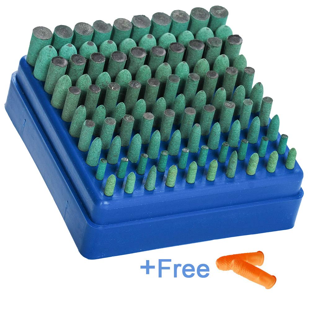 Polishing Accessories 100pcs Rubber Grinding Heads,3mm Shank Assorted Accessory, Mounted Point Wheel Head Kit for Dremel Polish Rotary Tools - Free Finger Cots(Green)