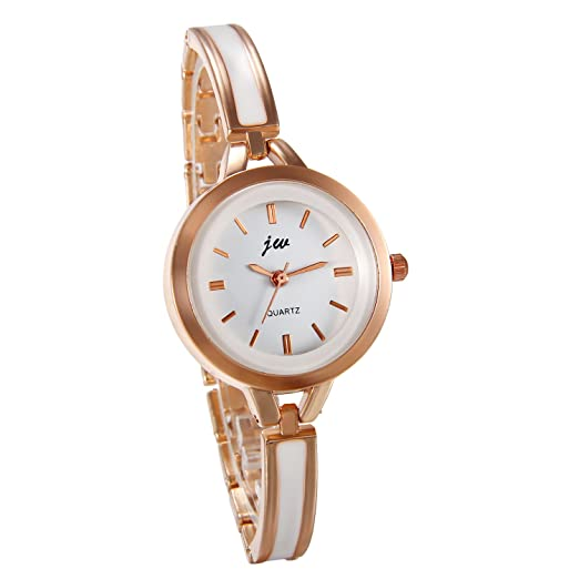 JewelryWe Reloj de Pulsera para Mujer Oro Rosa, Correa de Metal Retro Elegante Relojes de