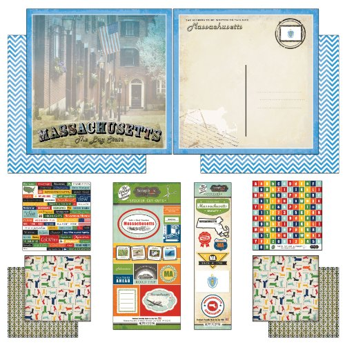 Scrapbook Customs Themed Paper and Stickers Scrapbook Kit, Massachusetts Vintage