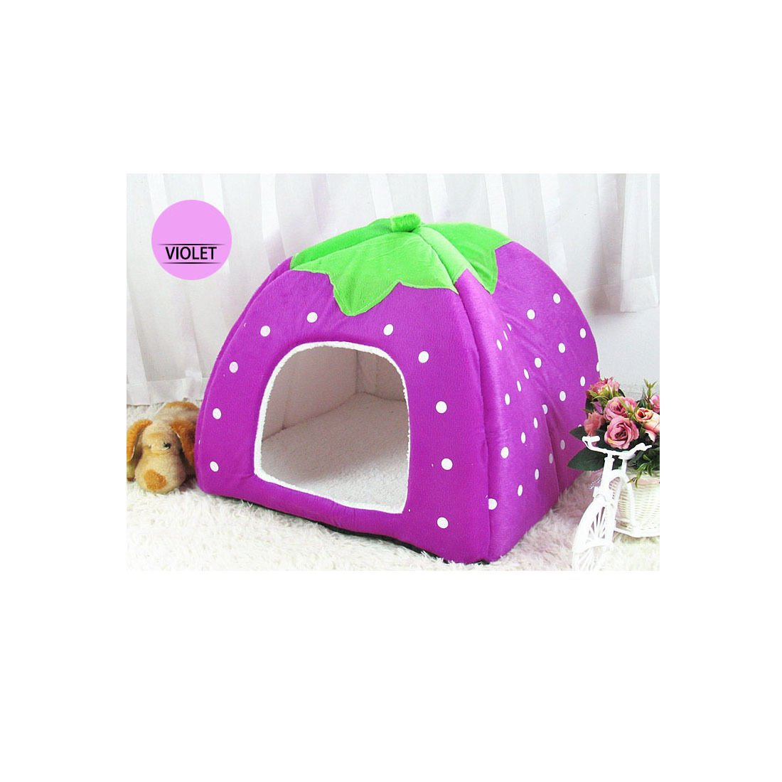 Amazon.com : 1pcs x Angelakerry Pet Dog Cat Bed Warm Cushion House Strawberry Kennel Doggy Soft Bed New(Pink colour M Size) : Pet Supplies
