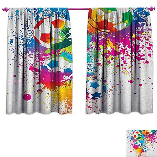 homefeel Soccer Patterned Drape for Glass Door Colored