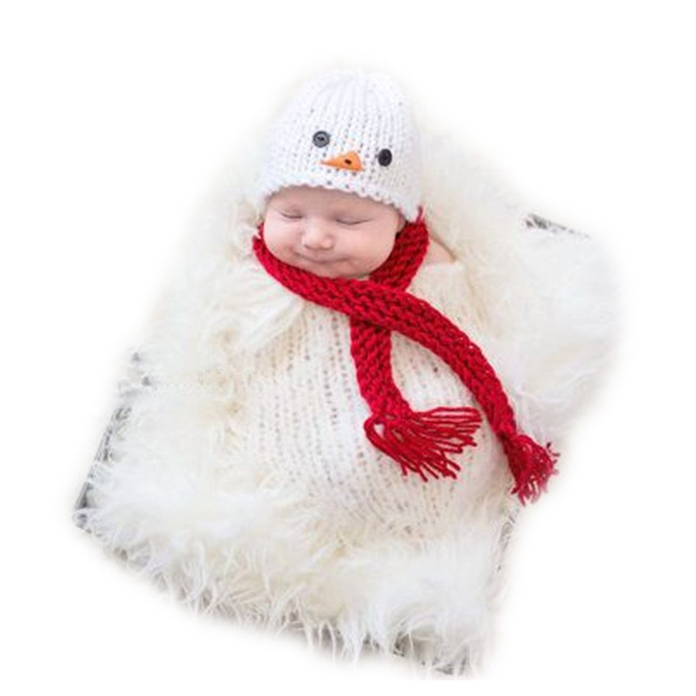 Newborn Baby Boys Girls Photography Props Outfits Fashion Cute Snowman Hat Scarf Sleeping Bag Sets JM-1152
