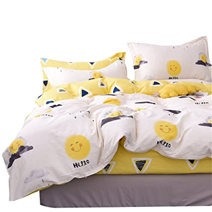OTOB Cartoon Yellow Smile Sun Print Duvet Cover Twin Bed Set Cotton 100 for  Kids,Reversible Children Bedding Sets 3 Piece Boys Girls with 1 Comforer ...