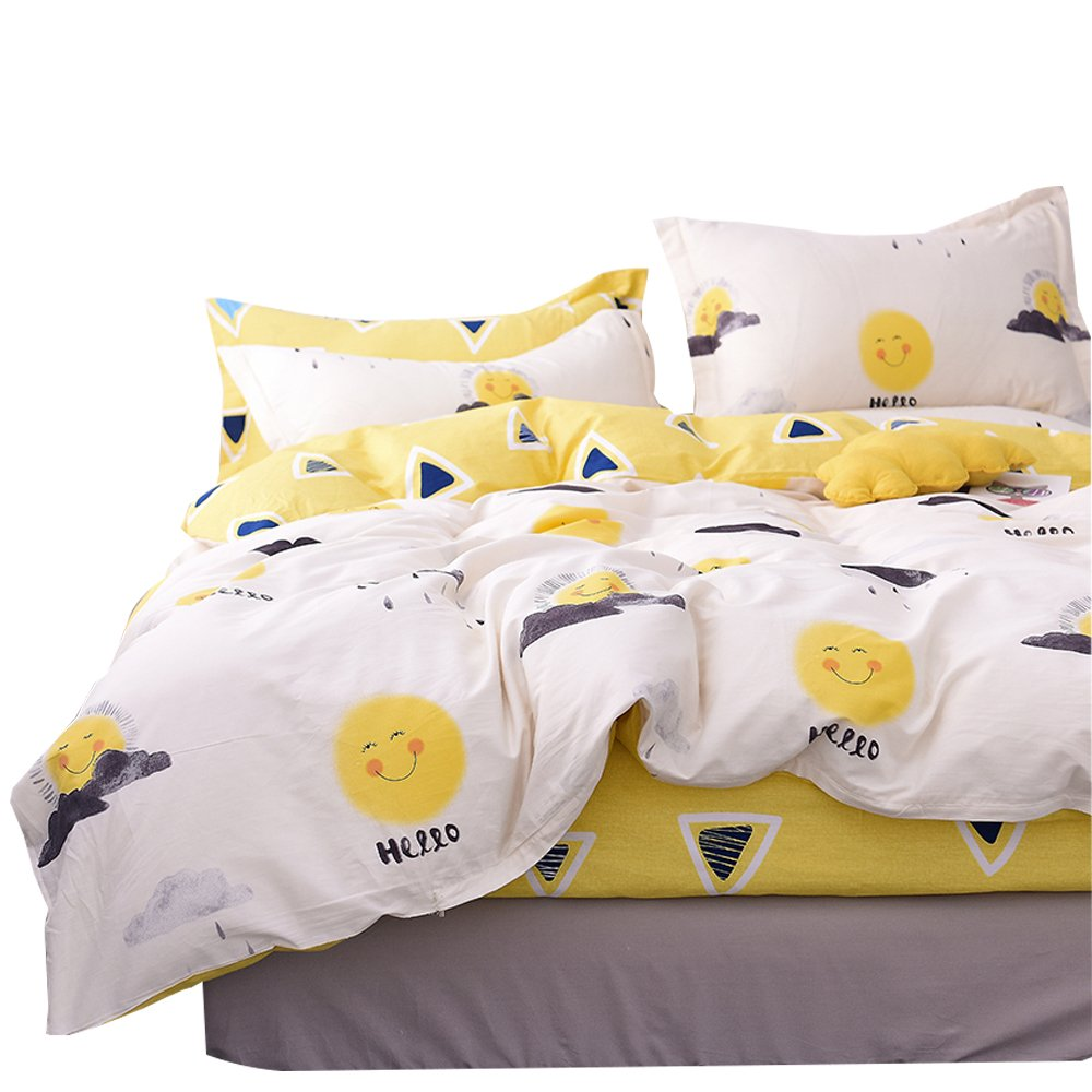 OTOB Cartoon Yellow Smile Sun Print Duvet Cover Twin Bed Set Cotton 100 for Kids,Reversible Children Bedding Sets 3 Piece Boys Girls with 1 Comforer Cover 2 Pillowcases Cute Triangles(Twin,Style 5)