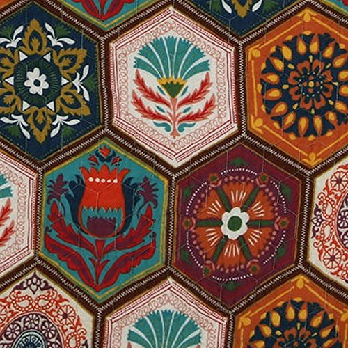 Boho Moroccan Quilt Set with Shams Geometric Pattern Medallion Mandala Earth Tones Orange Brown 100 Cotton Luxury Reversible 2 Piece Twin Size Print Bedding - Includes Bed Sheet Straps by Finely Stitched (Image #4)