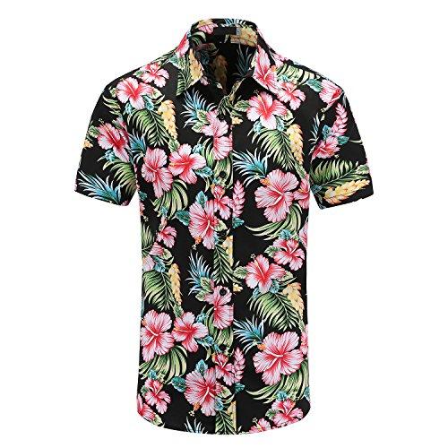 Hopioneer Men's Aloha Shirts - Short Sleeve Button Down Brushed Hawaiian Shirt With Floral Print - Size - Hawaiian Shop