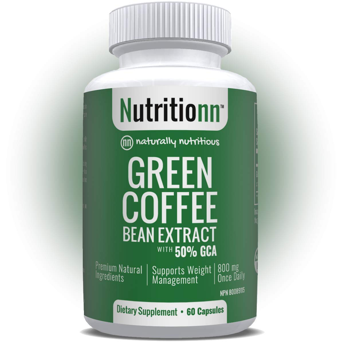 Green Coffee Bean Extract by Nutritionn - Premium Fat Burner Diet & Weight Loss Pills - 800 mg Capsules - 100% Pure Natural Supplement