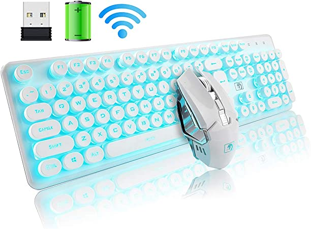 Wireless Keyboard Mouse Kit Round Punk Keycap Wireless Keyboard Mute Power Saving Wireless Mouse Set Computer Gaming Accessory White Green