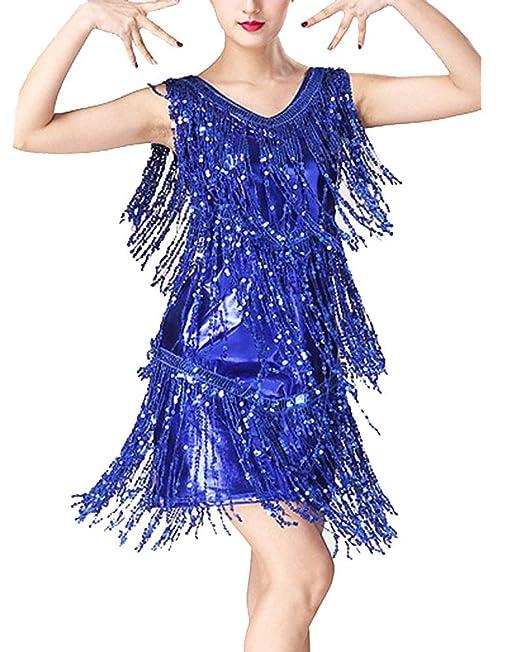 Guiran Mujer Danza Vestido Baile De Salón Latino Tango con Lentejuelas Y Flecos Fiesta Cóctel Ropa