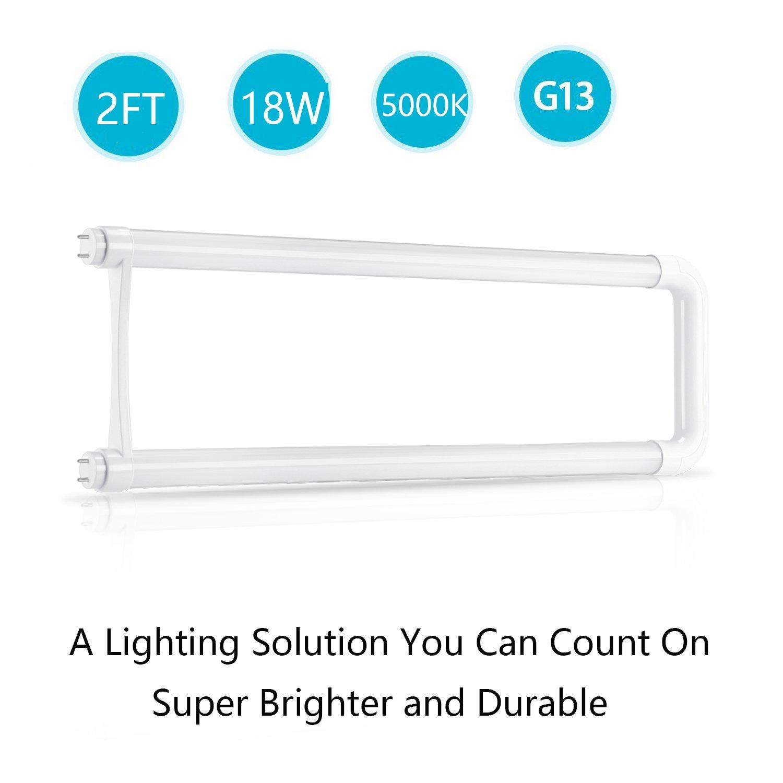 T8 U Bend LED Bulb,Jimwhen 2FT U Shaped LED Tube, 18W(40W Equiv) Fluorescent Light Replacement, 5000K Daylight,2000LM, U Bent LED Tube Light for Kitchen, School, Workshop