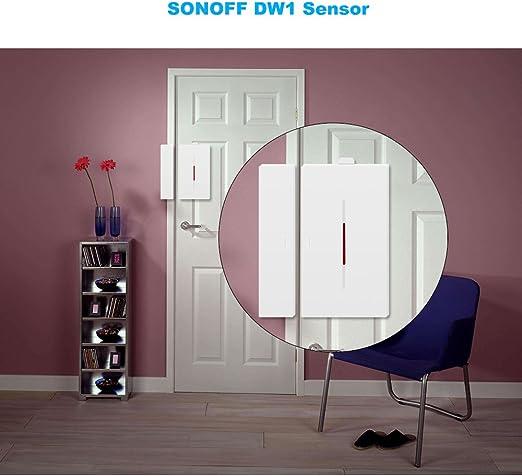SONOFF DW1 Sensor de alarma para puertas y ventanas, Alarma de sensor de puerta abierta Inalámbrico Alarma de entrada de ventana de puerta Sistema de alarma antirrobo Alarma antirrobo: Amazon.es: Bricolaje y