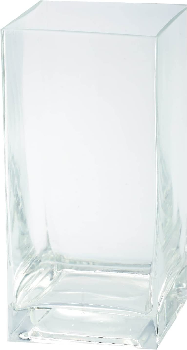 Amazon Com Diamond Star Glass Clear Square Container 4 By 4 By 8 Home Kitchen