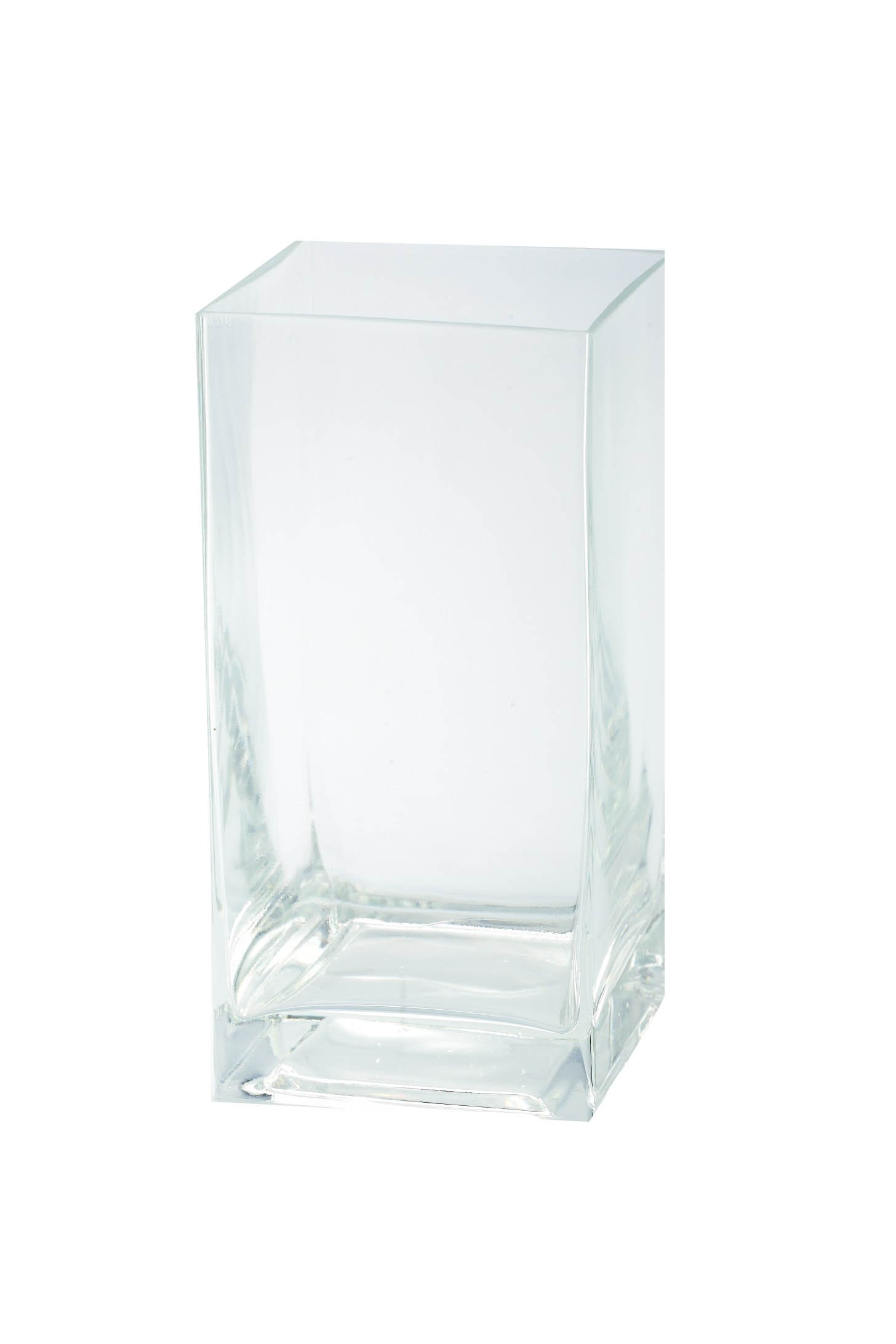 Diamond Star Glass Clear Square Container, 4'' by 4'' by 8''