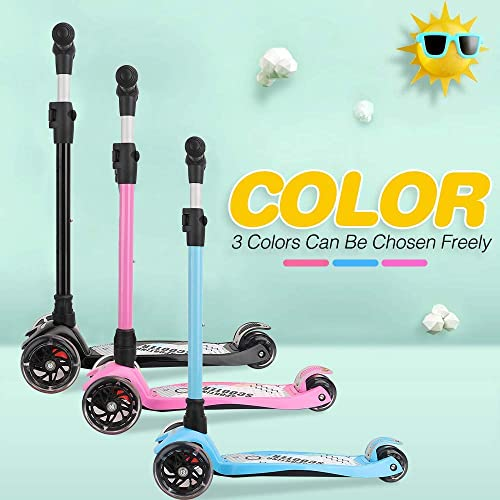 Yoleo Kick Scooter for Kids, Kids Scooter with 3 Big NEO Wheels and Extra Safe Wide Deck, Adjustable Height Kick Scooters for Kids Age 3 Pink