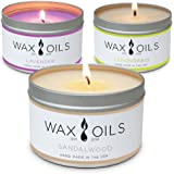 Scented Candles (Lavender, Lemongrass and Sandalwood) Soy Wax Aromatherapy, 8oz (Pack of 3)