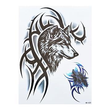 Hombres Tattoo Lobo Tribal Negro y azul brazo tatuaje pegatinas Fake Tattoo  hb820