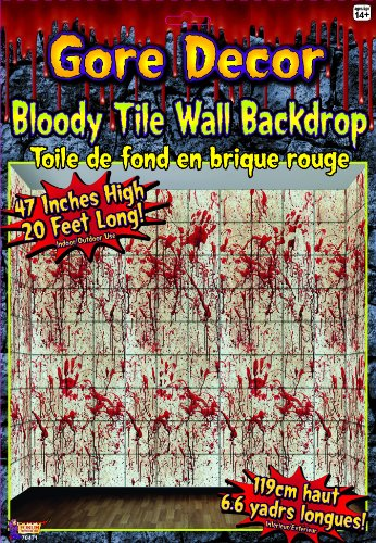 Ideas Costumes Halloween Cheap (Forum Novelties Gore Decor Bloody Tile Wall Backdrop,)