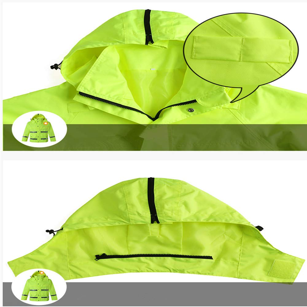 GSHWJS- trash can Waterproof Rain Jacket and Pants, Reflective Safety Raincoat Hooded Poncho Set, Green Reflective Vests (Size : L) by GSHWJS- trash can (Image #6)