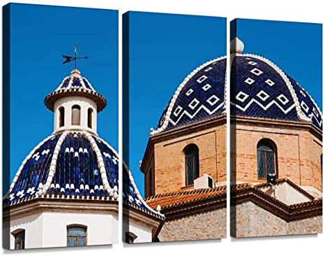 Amazon Com Haben Artwork Virgin De Consuelo In Altea Town Spain Weathervane Print On Canvas Wall Artwork Modern Photography Home Decor Unique Pattern Stretched And Framed 3 Piece Posters Prints