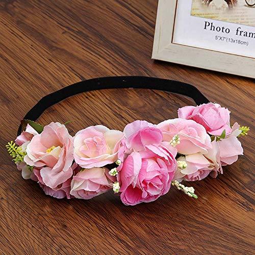 Romantic Wreath Flower Crown Headband Forehead Elastic Wedding Bride Vacation Garland Hair Accessories Green Free Size