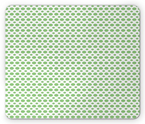 Green Mouse Pad by Ambesonne, 60s 70s Pop Art Inspired Retro Green Polka Dots Circles Vintage Design Art, Standard Size Rectangle Non-Slip Rubber Mousepad, Fern Green and (60s 70s Green)