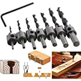 Malayas® Senker broca (7 unidades, HSS 5 Flauta Countersunk broca Set escariador Screw Driver Madera Metal Aluminio Plástico Counter Sink Drill Herramientas 3 – 10 mm