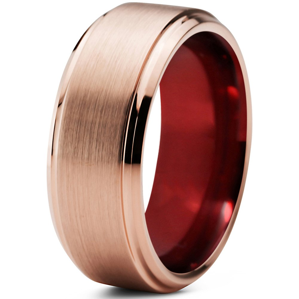 Tungsten Wedding Band Ring 6mm 8mm for Men Women Blue Red 18k Rose Gold Beveled Edge Brushed Polished FREE Custom Laser Engraving Lifetime Guarantee