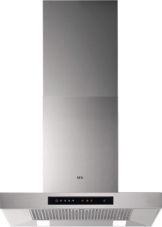 AEG DBB5660HM Campana Sincronización Automática con Placa compatible, Función Brisa, Clase A, 4 niveles potencia, Potencia hasta 779 m3/h, Nivel de ruido 55 dB, A, Luces LED, Decorativa,Gris, 60 cm