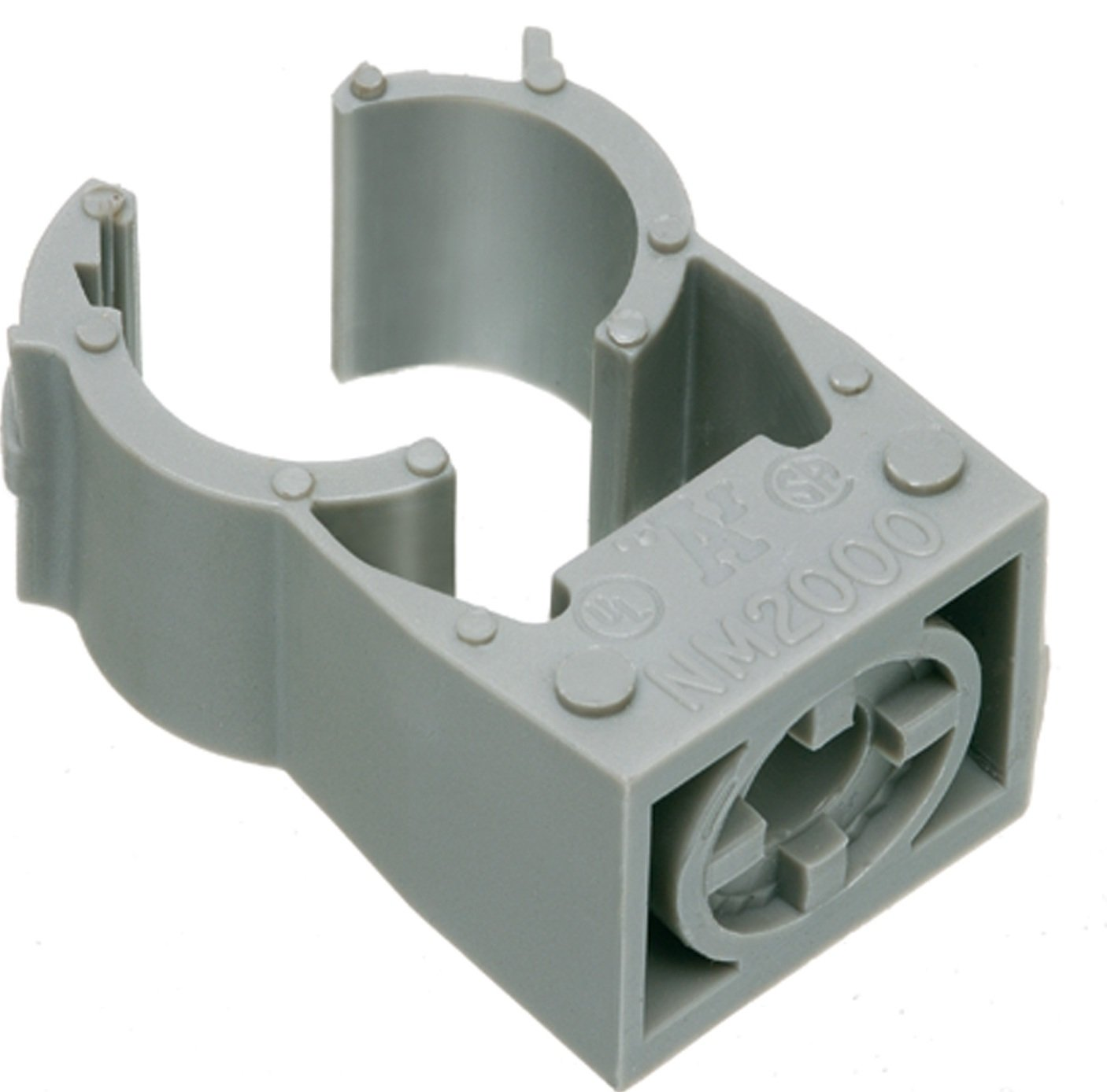 Arlington NM2040-100 Gray One-Piece Non-Metallic UV-Rated Quick-Latch Pipe Hanger, 100-Pack, 1-1/2-Inch EMT, 1-1/4-Inch RIGID
